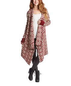 Look at this Burgundy Weave Stripe Duster on #zulily today!