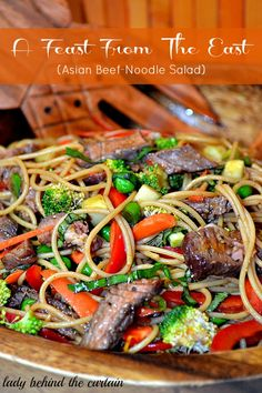 Lady Behind The Curtain - Feast From The East (Asian Beef-Noodle Salad).Use gluten free noodles. Asian Recipes, Beef Recipes, Cooking Recipes, Healthy Recipes, Noodle Recipes, Great Recipes, Favorite Recipes, Asian Beef, Oriental