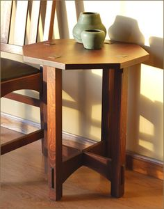 "20x20"" Caledonia studios Arts And Crafts Furniture, Furniture Projects, Furniture Decor, Furniture Design, Craftsman Built In, Craftsman Style Furniture, Mission Furniture, Reproduction Furniture, End Tables"