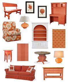 Color Inspiration: Orange Cottage Style Furniture & Decor @Stace Karl this range reminds me of you.