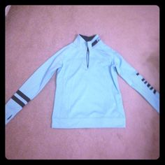 PINK mint blue pullover  today only $40!!! NWOT. Only worn to take picture. Super cute and has key hole to put thumb in on sleeve. Black detailing. PINK Victoria's Secret Tops
