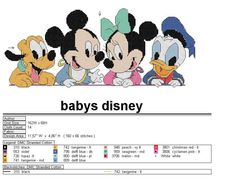 Disney babies 1 of 4 Source by Disney Cross Stitch Patterns, Cross Stitch Charts, Cross Stitch Designs, Cross Stitch Embroidery, Animated Disney Characters, Mickey Mouse Characters, Mickey Y Minnie, Minnie Mouse, Stitch Character