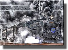 Steam Engine Train, Picture on Stretched Canvas, Wall Art Decor, Ready to Hang!