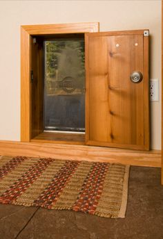 Looking for stylish dog door ideas? Check out over 25 stylish dog door installs & designs right here. The best dog door ideas around ; Dog Spaces, Dog Yard, Pet Door, Doggy Doors, Diy Doggie Door, Niches, Dog Rooms, Dog Shower, Dog Houses
