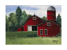 size: Giclee Print: Picture 073 by Debbi Wetzel : Farmhouse Paintings, Country Paintings, Farm Paintings, Animal Paintings, Red Barn Painting, Rock Painting, Farm Village, Barn Pictures, Simple Canvas Paintings