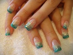 Nail Art Designs Gallery Turquoise French Stars