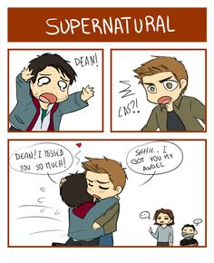 Supernatural : Dean and Cas Cartoon