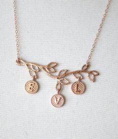 Personalized Rose gold Family Branch necklace