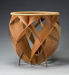 The Shimmering of Heated Air - bamboo flower basket by Shono Shounsai 1969