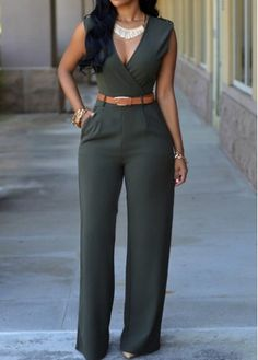 Pocket Design Sleeveless Dark Green Jumpsuit on sale only US$21.90 now, buy cheap Pocket Design Sleeveless Dark Green Jumpsuit at modlily.com