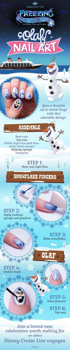 Cool down your manicure look with this 'Frozen'-inspired nail art. Click to learn more about select Disney Cruise Line sailings featuring the all-new Frozen Deck Party!