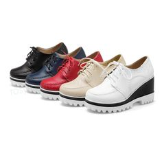 Hot Women's High Heels Pumps Faux Leather Lace Up Creepers Shoes Platforms Bd207