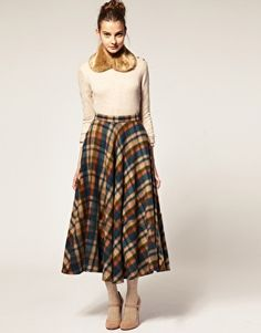 70s High Waist Skirt Plaid Wool Maxi Skirt by NewOldFashionVintage ...
