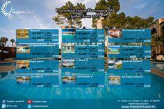 Promo hôtels Hammamet Juillet/Août 5*  Réservation en ligne: http://freedomtravel.tn/hotel_tn.php  Tel : 70 826 112 Mob : 23 569 470 Mail : info@freedomtravel.tn Skype : freedomtraveltn Site : www.freedomtravel.tn
