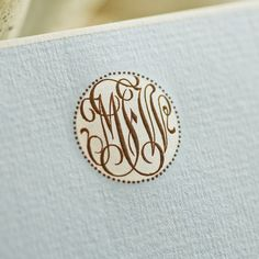 Powder Blue Empire Card with White Border and White and Dark Brown Monogram.