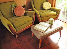 "ottoman, mid century, footstool, seating, vinyl, retro, atomic, side table, tapered wood legs,brass fittings, mid century modern, 27"" by TheAtomicAttic on Etsy https://www.etsy.com/listing/238892000/ottoman-mid-century-footstool-seating"