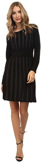 Calvin Klein Long Sleeve Two-Tone Fit & Flare Sweater Dress Calvin Klein Dress, Head To Toe, Flare, Women's Clothing, Fashion Accessories, Cute Outfits, Clothes For Women, Knitting, Crochet