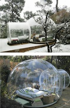 Crystal Bubble Hotel rooms~ The French town of Roubaix, has recently opened a series of portable hotel rooms in a local park. They can be rented by people who want to feel close to nature in the middle of the urban jungle…. Hotels And Resorts, Best Hotels, Unusual Hotels, Porch Garden, Oh The Places You'll Go, Future House, Beautiful Places, Bubbles, Backyard
