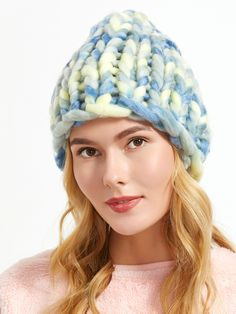 665c026c36 Shop Blue Handmade Knitted Coarse Line Hat online. SheIn offers Blue  Handmade Knitted Coarse Line