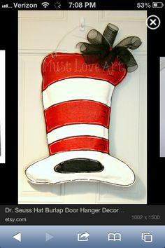 Seuss Hat Burlap Door Hanger Decoration Cat in the Hat via Etsy Check out the website to see Burlap Art, Burlap Crafts, Burlap Decorations, Dr Seuss Hat, Dr Suess, Diy Wreath, Burlap Wreath, Door Wreaths, Burlap Door Hangers