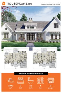 Check out this modern farmhouse exterior that features a big front porch. Inside, it gives you a cottage farmhouse bathroom and more. Questions? Call 1-800-913-2350 today. #blog #architecture #modern #bungalow #architect #architecture #buildingdesign #country #craftsman #houseplan #homeplan #house #home #homeblog Modern Farmhouse Exterior, Modern Farmhouse Kitchens, Farmhouse Design, Farmhouse Style, Big Front Porches, Building Department, Modern Bungalow, Cottage Farmhouse, Country House Plans
