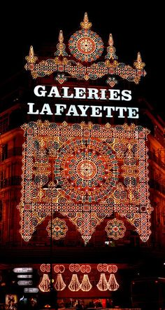 Galeries Lafayette Department Store ~ located at Boulevard Haussman in the 9th Arrondissement of Paris (particularly beautiful at Christmas)