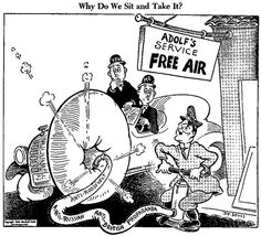 """This World War 2 cartoon shows Adolf Hitler excessively using anti-american, anti-british, and anti-soviet propoganda (air in tire) and asks the people within these nations """"why do we just let this happen."""" This political cartoon tries to persuade us to take action against Hitler during his time as German Chancellor.  http://chatterboxchronicles.blogspot.com/2007/02/dr-seuss-was-awesome.html"""