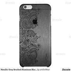 Metallic Gray Brushed Aluminum Black Paisley Lace Uncommon Clearly™ Deflector iPhone 6 Plus Case
