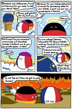 Wiggly mouse-drawn comics where balls represent different countries. Poland Country, Country Art, Best Memes, Dankest Memes, Jokes, Hetalia, History Memes, Oui Oui, Fun Comics