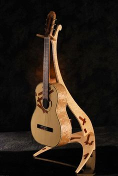 Hand crafted guitar & stand by Gregorie Fulghum