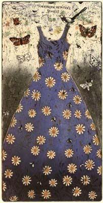 """Kirsi Neuvonen: """"Kesäpuku (Summer Dress)"""", 1993 (line etching, aquatint, copy etching) Finnish Women, Dress Painting, Painter Artist, Conceptual Art, Figurative Art, Art Studios, Mixed Media Art, Graphic Art, Graphic Design"""