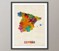 Spain Watercolor Map España Art Print 997 by artPause on Etsy, £12.99