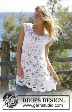 "Breath of Summer - Crochet DROPS tunic with mussel pattern in ""Alpaca"" and ""Cotton Viscose"". Size S - XXL - Free pattern by DROPS Design T-shirt Au Crochet, Beau Crochet, Pull Crochet, Gilet Crochet, Mode Crochet, Crochet Shirt, Crochet Woman, Drops Design, Knitting Patterns"