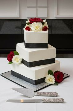 Square offset buttercream wedding cake
