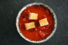 Stewed Tomatoes with Butter Toasted Croutons Crouton Recipes, Scd Recipes, Simply Recipes, Stone Soup, Stewed Tomatoes, Jambalaya, Martini, Vegetable Recipes, Vegetable Dishes