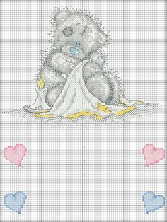 Teddi Bear with candles in diaper Cross Stitch For Kids, Cross Stitch Needles, Cross Stitch Heart, Cross Stitch Animals, Tatty Teddy, Teddy Bear, Cross Stitching, Cross Stitch Embroidery, Cross Stitch Designs
