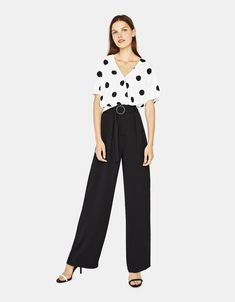 6f3ce0f5e92 Pantalon large avec ceinture Wide Leg Trousers