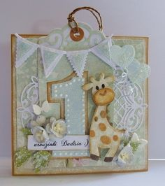 Scrap Passion: Birthday card with giraffe Baby Boy Cards, New Baby Cards, Baby Shower Cards, First Birthday Cards, Handmade Birthday Cards, Marianne Design Cards, Baby Crafts, Card Tags, Kids Cards