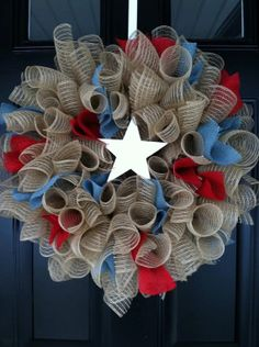 Fourth of July - Patriotic Wreath- Summer Wreath -4th of July- ruffled deco mesh wreath - wreath - home decor on Etsy, $50.00
