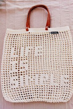 BEIGE TOTE BAG Crochet Bag Summer Bag Handmade door WhiteSheepShop