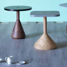 pezzo wood Side Table  inspired by chessmen