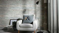 Tapete aus der Kollektion Brix unlimited Shops, Warm Grey, Egg Chair, Accent Chairs, Lounge, Furniture, Design, Home Decor, Hanging Wallpaper