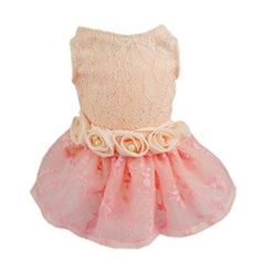 Fitwarm High Quality Pink Rose Pet Dog Wedding Dress Bride Clothes Tutu  Large