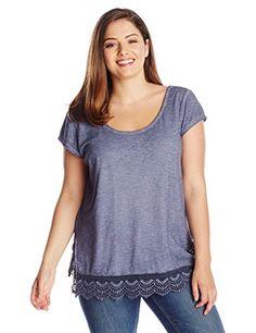 fdae41e8ee574 DKNY Jeans Women s Plus-Size Criss Cross Back Lace Trim Top