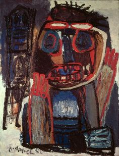 Karel Appel (1921-2006) In de periode aan de academie ontmoette Appel Corneille. Iets later maakte hij kennis met Constant. Er ontstond een intense vriendschap tussen hen die vele jaren zou standhouden. Met Constant maakte Appel na de oorlog reizen naar Luik en Parijs. De twee exposeerden samen. In deze periode vooral beïnvloeden door de kunst van Picasso, Matisse en Jean Dubuffet. Vooral de laatste maakte rauwe werken met andere materialen dan alleen verf.