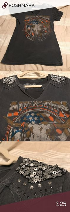 Affliction Shirt Live fast affliction grey shirt with sequins!!! Reminds me of Texas longhorns. Affliction Tops Muscle Tees