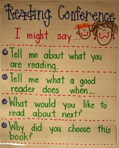 This anchor chart is great for increasing students' understanding of the type of questions they will be asked during reading conferences.