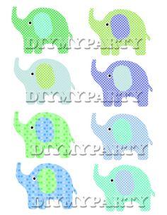diy Printable party decor elephant Clip Art Elephant clipart decoration pdf file digital birthday Party scrapbooking favor tags (216)