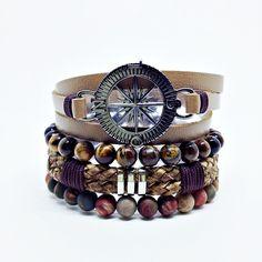 Kit 4 Pulseiras Masculinas Couro Pedras Naturais Bussola Rosa Ventos mens bracelets fashion style cocar brasil