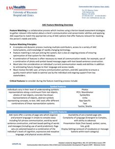 AAC Feature Matching Overview.  This handout from the University of Wisconsin Hospital Communication Aids & Systems Clinic (CASC) provides an overview of AAC Feature Matching.